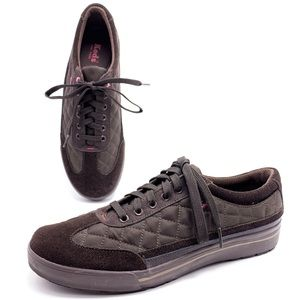 Keds Brown Suede Quilted Nylon Platform Sneakers